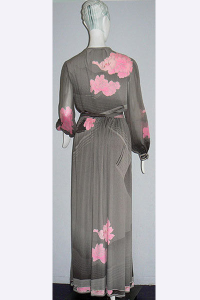 1970s Leonard of Paris Long Silk Dress