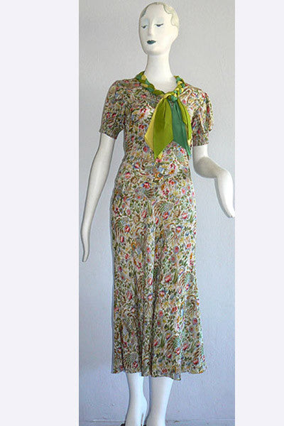 1930s Silk Feathers & Flora Silk Dress