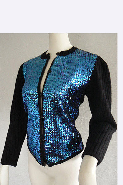 1970s Yves Saint Laurent Sequin Peasant Sweater