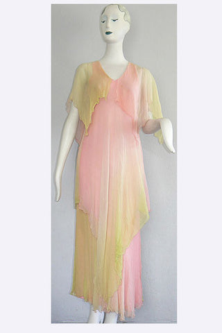 1960s Vicky Tiel Chiffon Dress
