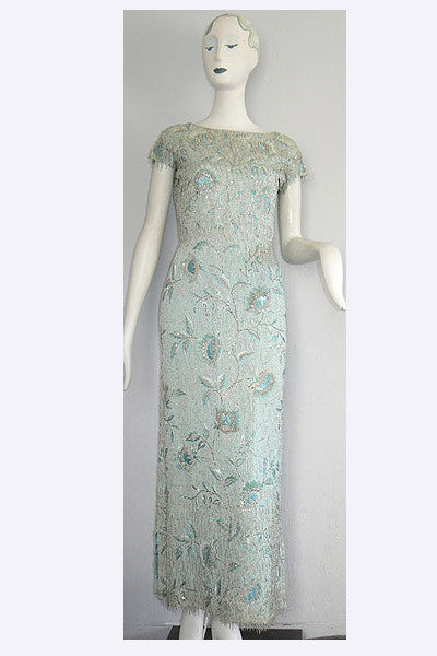 1960s Lanvin Castillo Beaded Evening Gown
