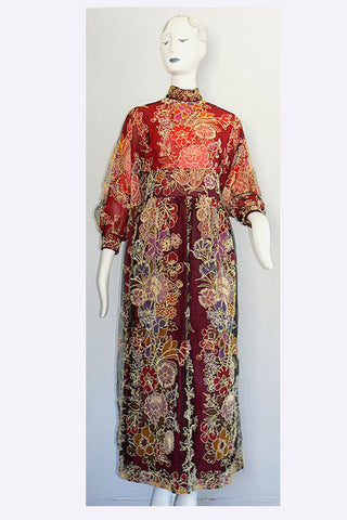 1960s Donald Brooks Floral Tulle Dress