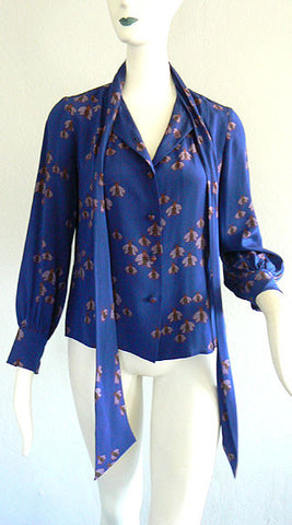 1970s Gucci Bee Print Blouse
