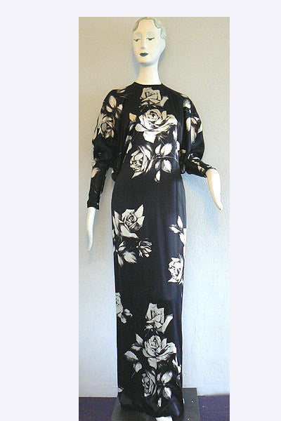 1970s Galanos Roses Eveing Dress