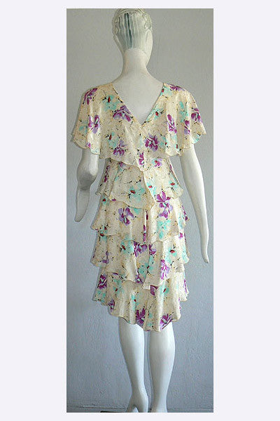 1980s Holly Harp Floral Dress