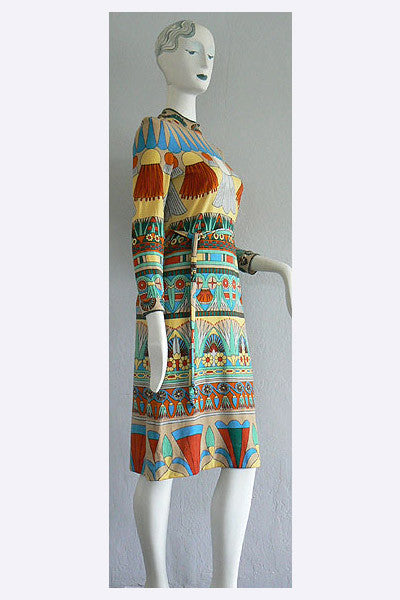 1960s Goldworm Italy Egyptian Revival Print Dress