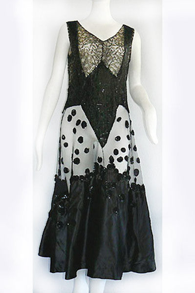 1930s Lace, Sequin and Tulle Dress