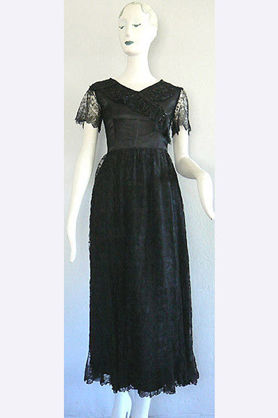 1910s Black Lace & Silk Dress