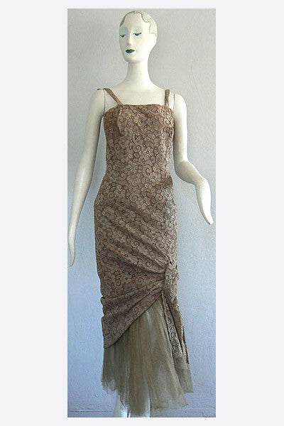 1950s Jacques Griffe lace evening gown