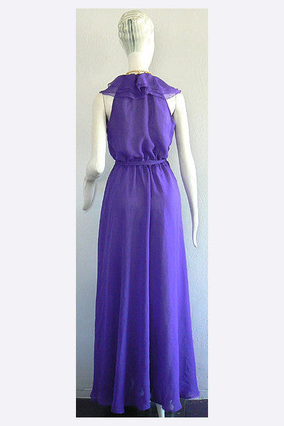 1970s Halston Purple Wrap Gown