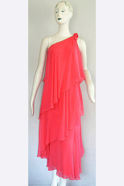 1970s Halston Watermelon Pink Goddess Gown
