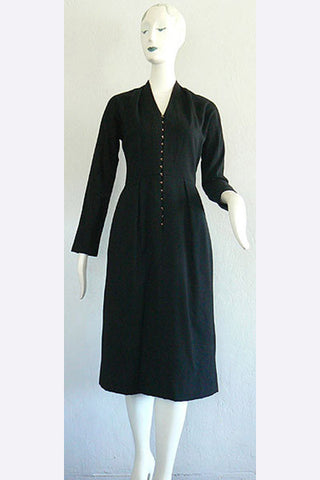 1950s Claire McCardell Black Hooked-up Dress