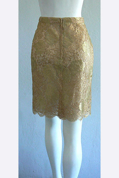 1980s Gold Lace Skirt
