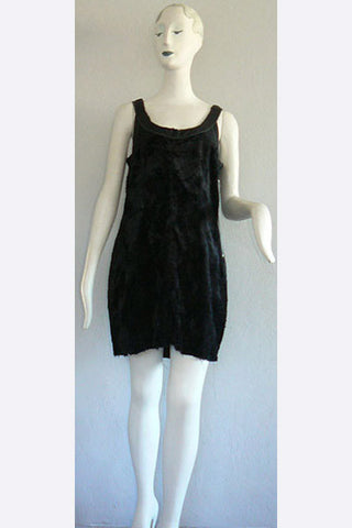 1990s Martin Margiela Artisanal Line Little Black Furry Dress