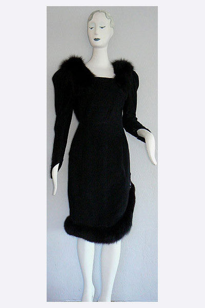 1980s Bernard Perris Suede & Fox Dress