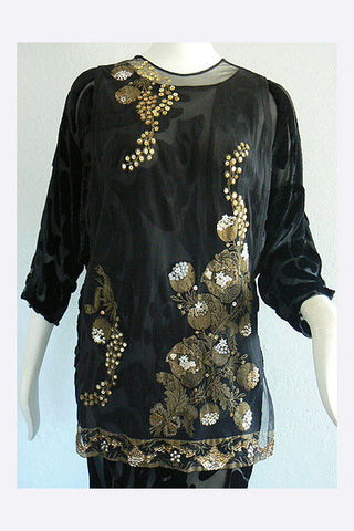 1960s - 1920s Style Stenciled Tunic