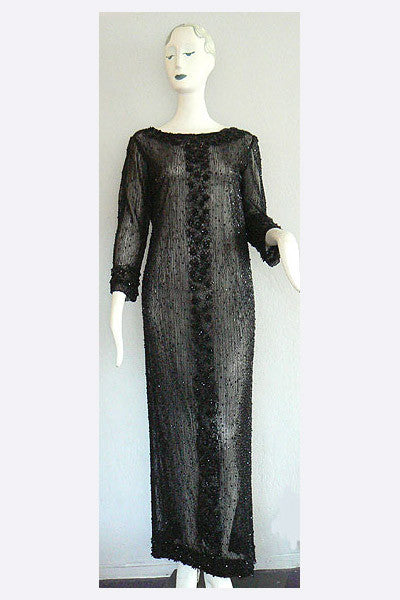 1960s Long Beaded Dress