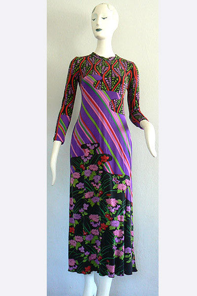 1960s Bolhan Printed Silk Dress