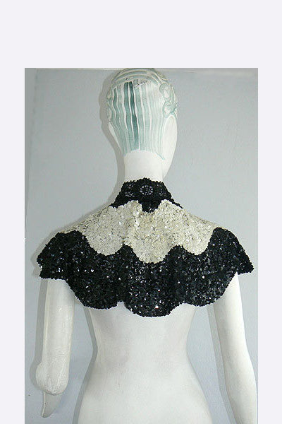 1900s Black & White Sequin Capelet