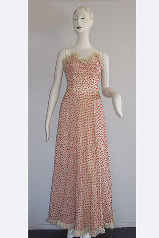 1940s Embroidered Party Dress