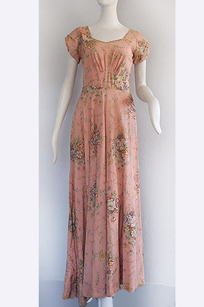 1940s Floral Gown