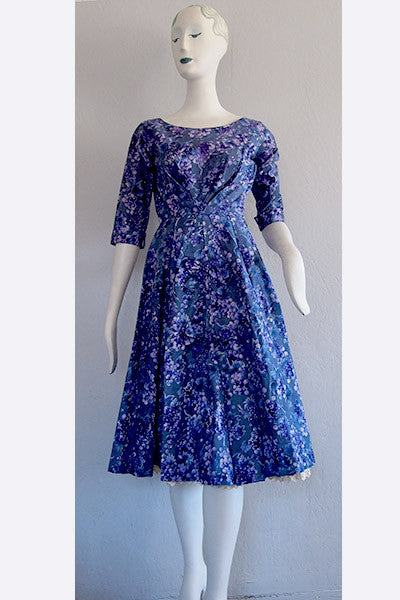 1950s Hardy Amies Grape Print Dress