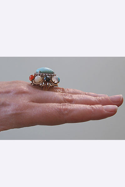 1950s 14k Gold & Turquoise Cocktail Ring