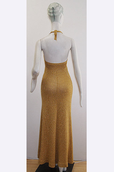 1960s Biba Gold Lurex Knit Halter Dress