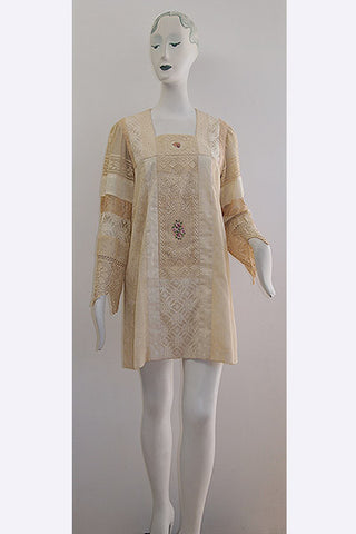 "1970s Jon Shannon Multi Lace ""Valencien""  Mini Dress"