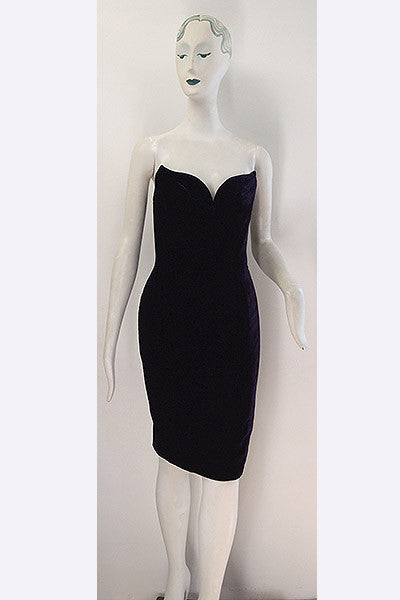 1990s Thierry Mugler Velvet Dress