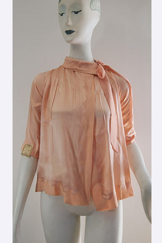 1920s Unworn Silk Night Top - Bed Jacket