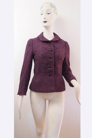 1940s Hattie Carnegie Sculptural Tweed Jacket