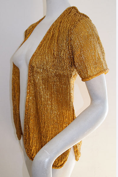 1940s Gold Glass Beaded Jacket