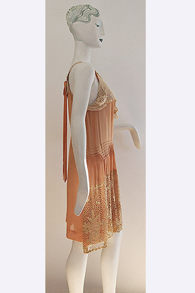 1920s Silk & Lace Flapper's Dress