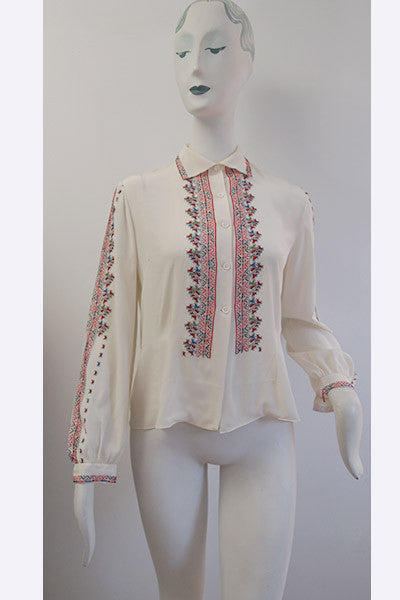 1950s Romanian Embroidered Peasant Blouse