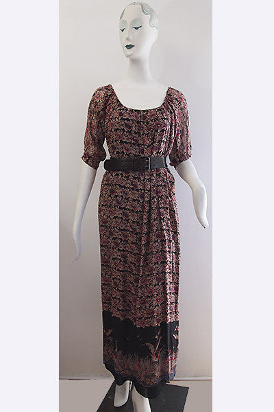 "1970s Julio Espada ""Hippie Chic"" Bird Print Dress"