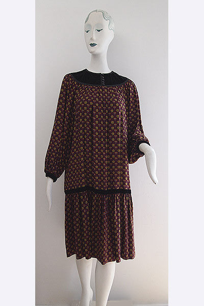1970s Yves Saint Laurent Silk Peasant Dress