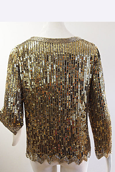 1970s Halston Sequin & Bead Top
