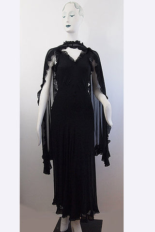 1930s ALIX Madame Gres Dress & Shawl Ensembe