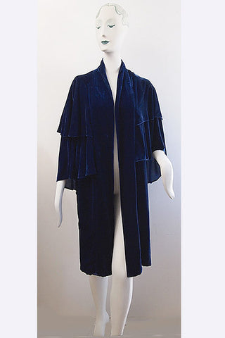 1930s Blue Velvet Double Cape Cocoon Coat