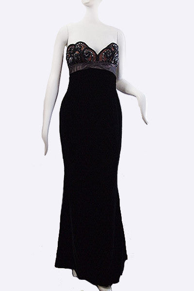 1990s  Bob Mackie Beaded Strapless Dress