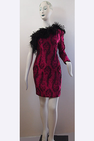 "1980s Patrick Kelly ""Feather"" One Arm Dress"