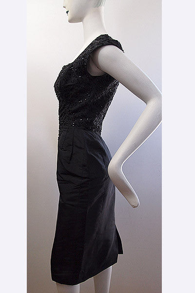 1950s Beaded Silk Haute Couture Dress