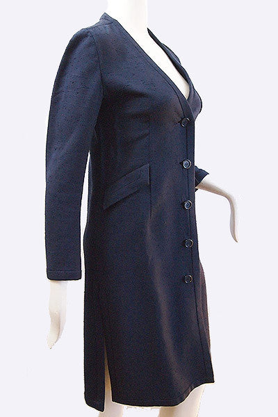 1970s Valentino Raw Silk Coat Dress