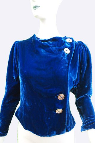 1940s Blue Silk Velvet Jacket