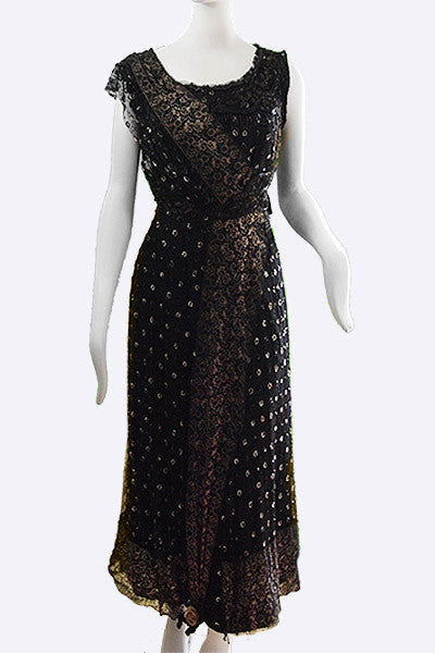 1910s Edwardian Tulle & Gilt Lace Evening Dress
