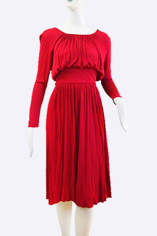 1970s John Bates Cranberry Red Dress