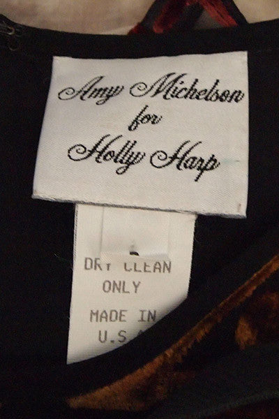 1990s Amy Michelson for Holly Harp Devore Velvet Dress