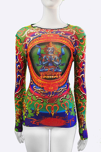 1990s Jean Paul Gaultier Hindu God/Goddess Mesh Top