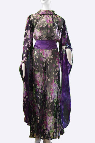 1910s Long Open Sleeve Floral Print Chiffon Gown